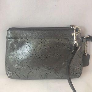Coach Bags - Coach Perforated C Silver Metallic Glam Wristlet